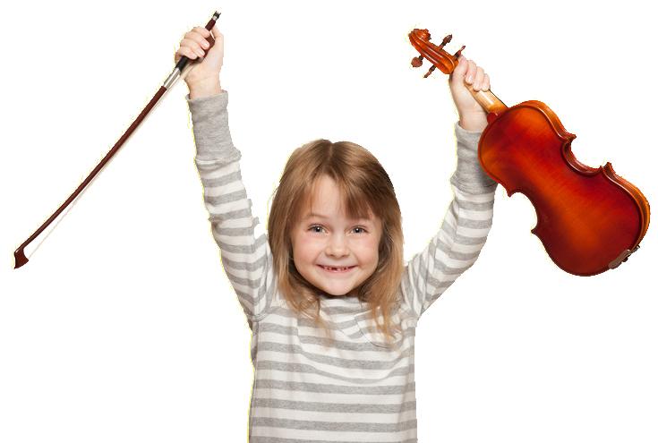 Little girl vith 1/16 violin.