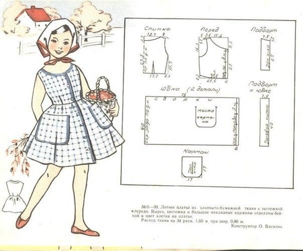 Выкройка платье для девочки в клетку