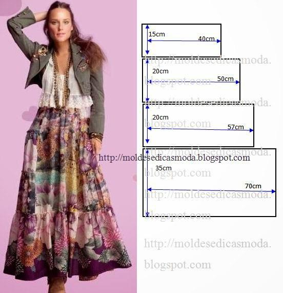 Длинные юбки с ярусами выкройки