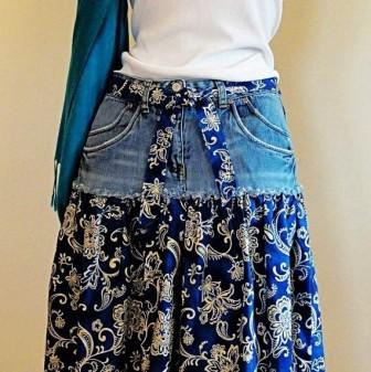 paisley-denim-short-jeans-skirt-knee-length-blue-jeans-skirt-f54369