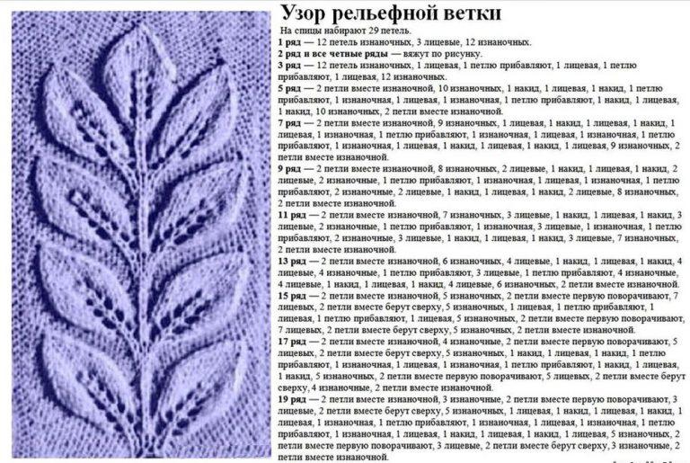 Вязание спицами узоры схем листиков