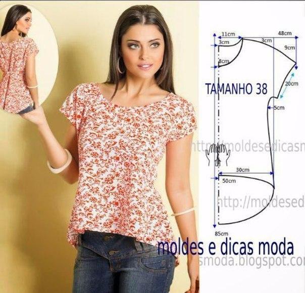 Простая блузка своими руками из хлопка